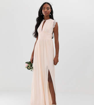 TFNC Tall lace detail maxi bridesmaid dress in pearl pink