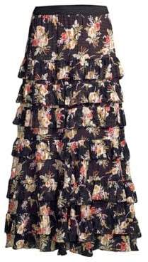 Rebecca Taylor Floral Tier Maxi Skirt