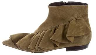 J.W.Anderson Suede Ruffled-Accented Ankle Boots