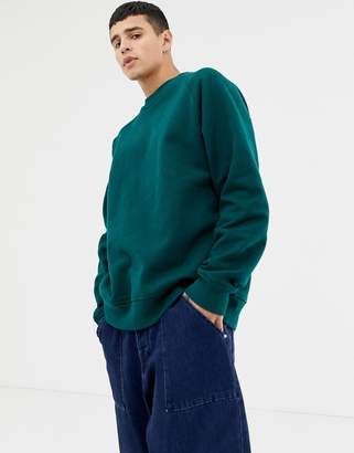 Asos oversized sweatshirt in heavyweight dark green jersey