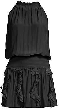 Ramy Brook Women's Clyde Ruffled Eyelet Blouson Halter Dress