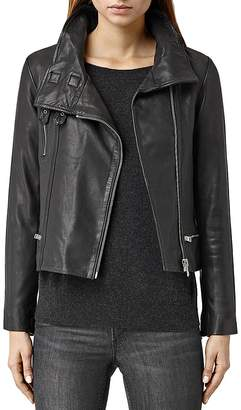 ALLSAINTS Bales Leather Biker Jacket $560 thestylecure.com