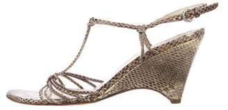 Miu Miu Snakeskin T-Strap Wedges