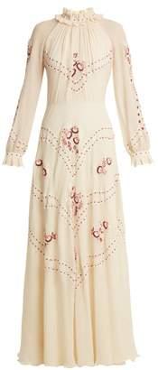 Vilshenko - Cara Embroidered Silk Chiffon Gown - Womens - Cream Multi