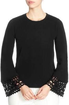 Catherine Malandrino Deco Laser Cut-Cuffs Sweater
