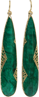 Yossi Harari Emerald Slice Lace Earrings