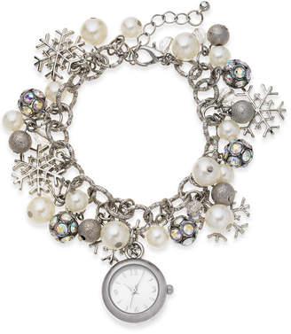 Holiday Lane Women Snowflake Silver-Tone Charm Bracelet 26mm