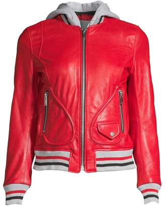 Doma Michelle Hooded Leather Varsity Jacket