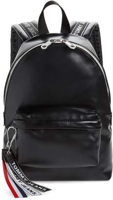 Tommy Jeans Logo Tape Faux Leather Backpack