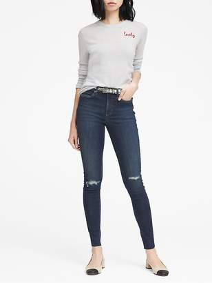 Banana Republic High-Rise Legging-Fit Medium Wash Ankle Jean with Fray Hem