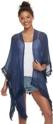 Mudd Women's Solid Gauze Lace-Trimmed Ruana