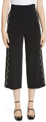 RED Valentino Scalloped Contrast Stitch Crop Wide Leg Pants