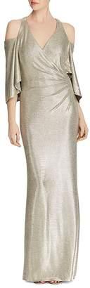 Lauren Ralph Lauren Metallic Cold-Shoulder Gown