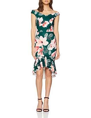 098c210e61 Quiz Women s DIP Hem Dress Cocktail Floral Short Sleeve Dress