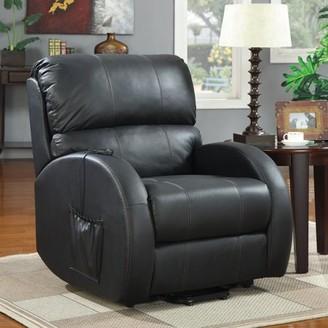 Coaster Company Top Grain Leather Match Coaster Recliner, Black