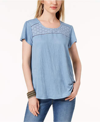 Style&Co. Style & Co Petite Crochet-Trim Flutter-Sleeve Top