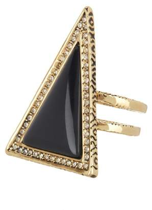 House Of Harlow Black Triangle Theorem Ring - Size 6