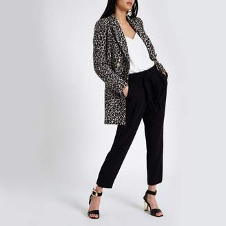 River Island Womens Black tie waist tapered trousers