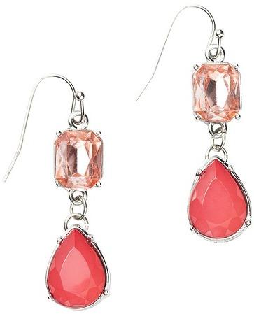 LOFT Pink Stone Teardrop Earrings