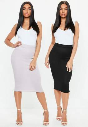 Missguided Black Mauve 2 Pack Ribbed Jersey Midi Skirt