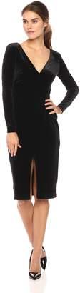Betsey Johnson Women's Long Sleeve V-Neck Velvet Dress