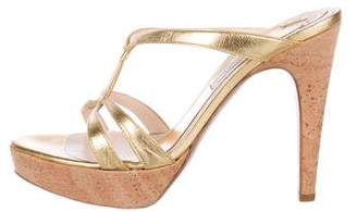 Pollini Metallic Leather Platform Sandals