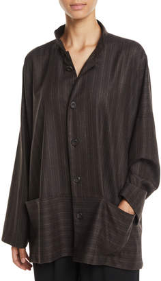 eskandar Button-Down Striped Wool Jacket w/ Pouch Pockets