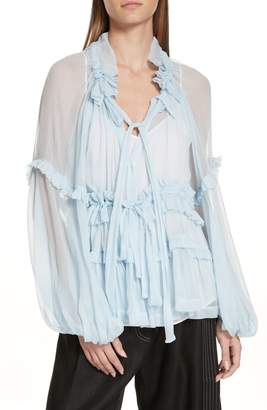 Bluebelle LEE MATHEWS Tie Neck Silk Top