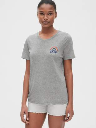 Gap + Pride Embroidered Logo Graphic Crewneck T-Shirt