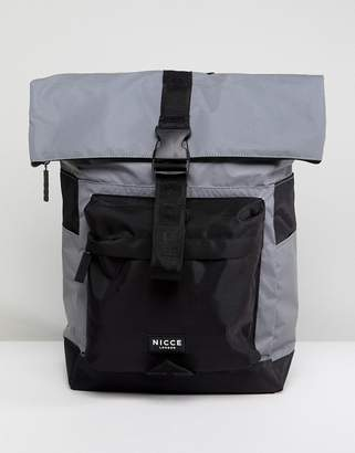 Nicce London rolltop backpack in reflective