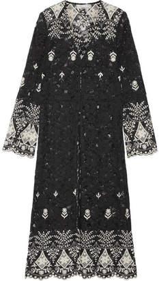 Alice + Olivia Alice Olivia - Stara Embroidered Cotton-blend Corded Lace Kaftan - Black