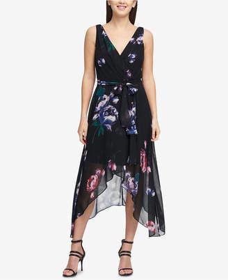 DKNY V-Neck Chiffon Wrap Dress
