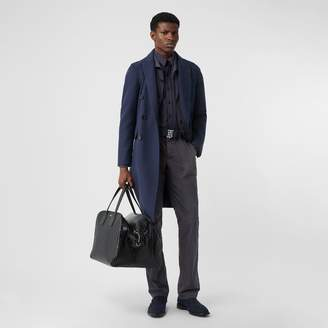 Burberry Crinkled Cotton Blend Tailored Jacket