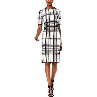 Taylor Dresses Women's Elbow Sleeve Placed Print Plaid Stretch Knit Jacquard Dress
