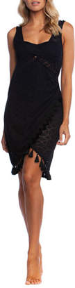 LaBlanca La Blanca Crochet Coverup Wrap Dress with Tassels