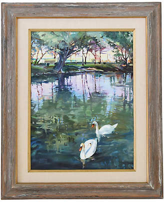 One Kings Lane Vintage Barbara S. Edwards - White Swans Painting Art