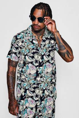 boohoo Abstract Floral Revere Short Sleeve Shirt
