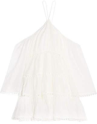Zimmermann Jasper Cold-shoulder Tiered Polka-dot Cotton Mini Dress - White