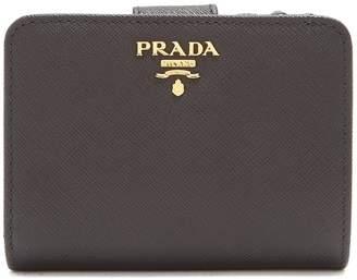 Prada Compact zip-around saffiano leather wallet