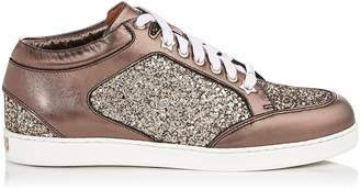 Jimmy Choo MIAMI Antique Gold Shadow Coarse Glitter Fabric Trainers