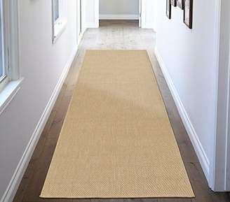 Ottomanson Jardin Collection Natural Solid Design Indoor/Outdoor Jute Backing Synthetic Sisal Runner Rug