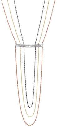 """Meira T 14K Yellow, White, and Rose Gold Diamond Bar Triple Strand Necklace, 16"""""""