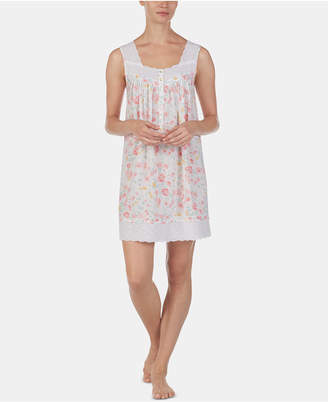 Eileen West Eyelet-Trim Floral-Print Cotton Chemise Nightgown