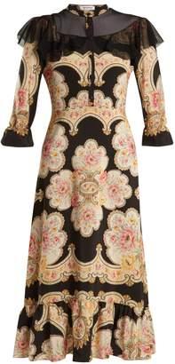 Vilshenko Petra lace-insert silk crepe de Chine dress