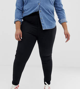 Asos DESIGN Curve Farleigh slim mom jeans in clean black