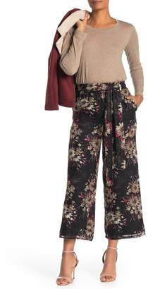 Moon River Waist Tie Floral Print Wide Leg Pants