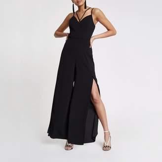River Island Womens Black wide split leg jumpsuit