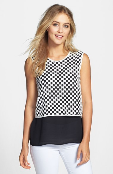 Vince Camuto Check Overlay Sleeveless Blouse
