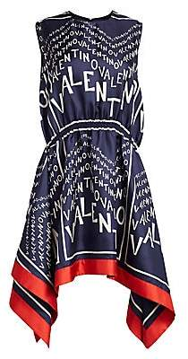 Valentino Women's Silk Chevron-Print Handkerchief Dress