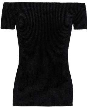 Helmut Lang Off-The-Shoulder Ribbed-Knit Chenille Top